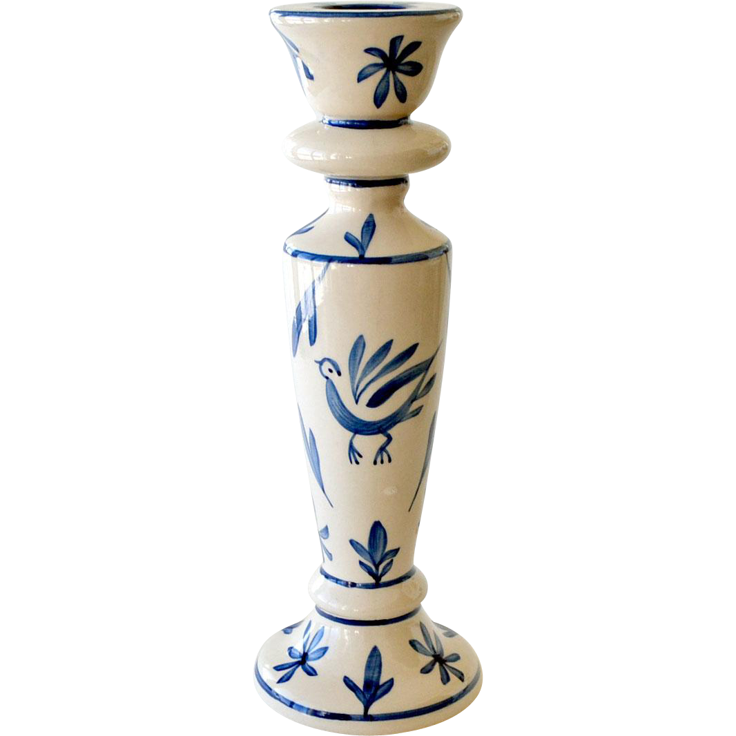 Large Candlestick Blue and White Hand Painted
