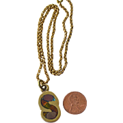 Necklace Brass with Initial S Pendant