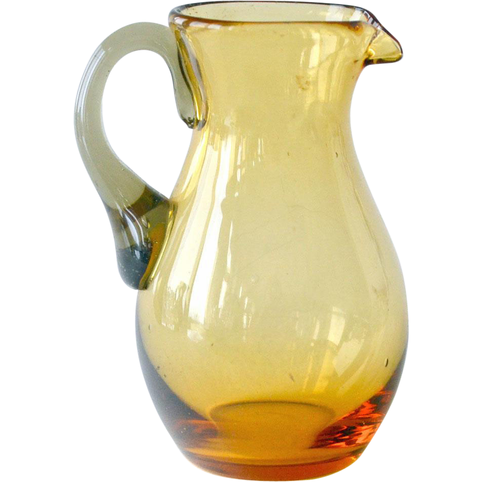 Amber Glass Miniature Pitcher
