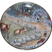 Franklin Mint Collector Plate Farmyard Visitors Children Cat Cows