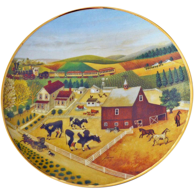 Plate American Folk Art Collection Cows Franklin Mint