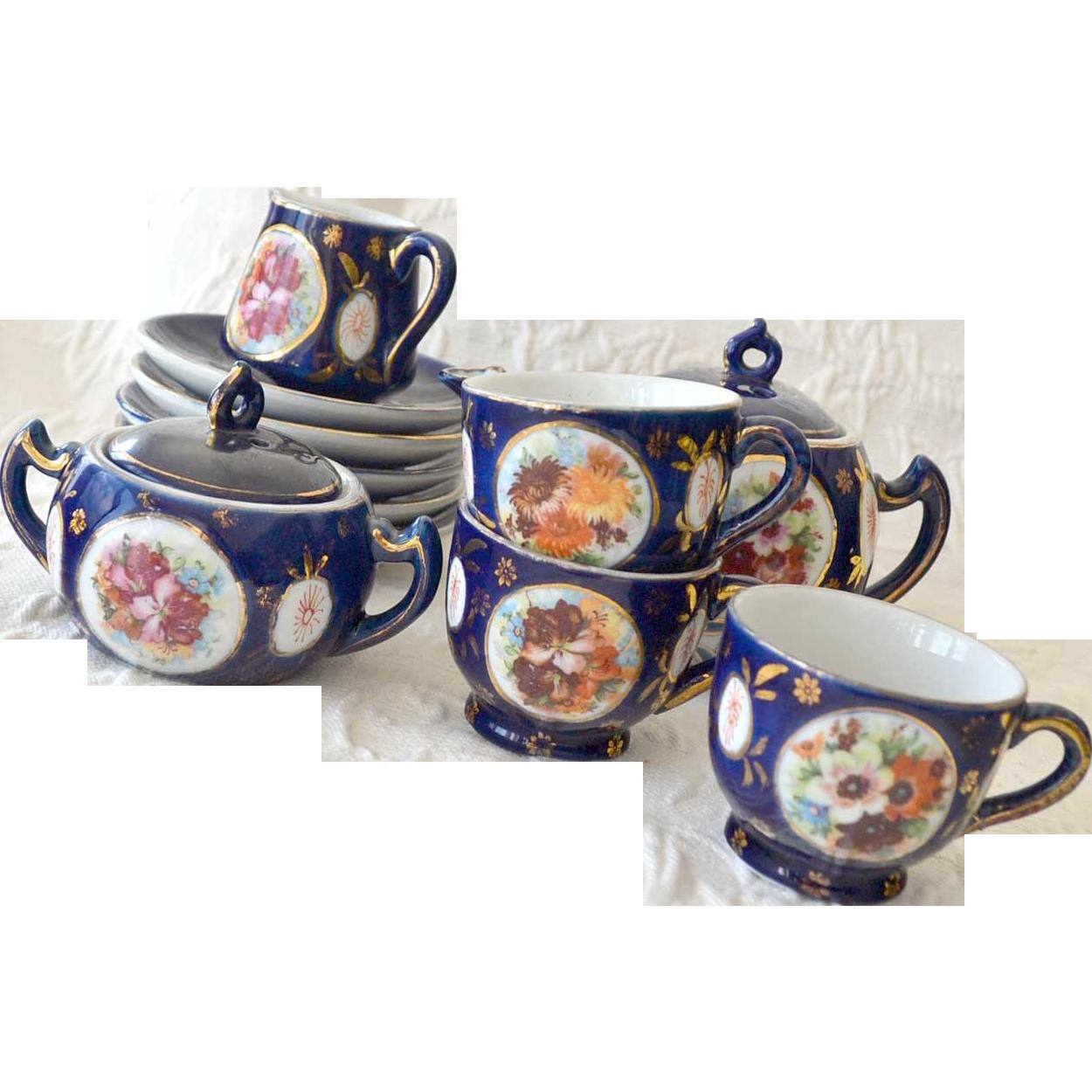 Childrens Tea Set Cobalt Blue Porcelain