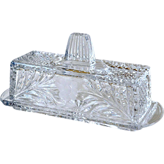 Covered Butter Dish Etched Flower