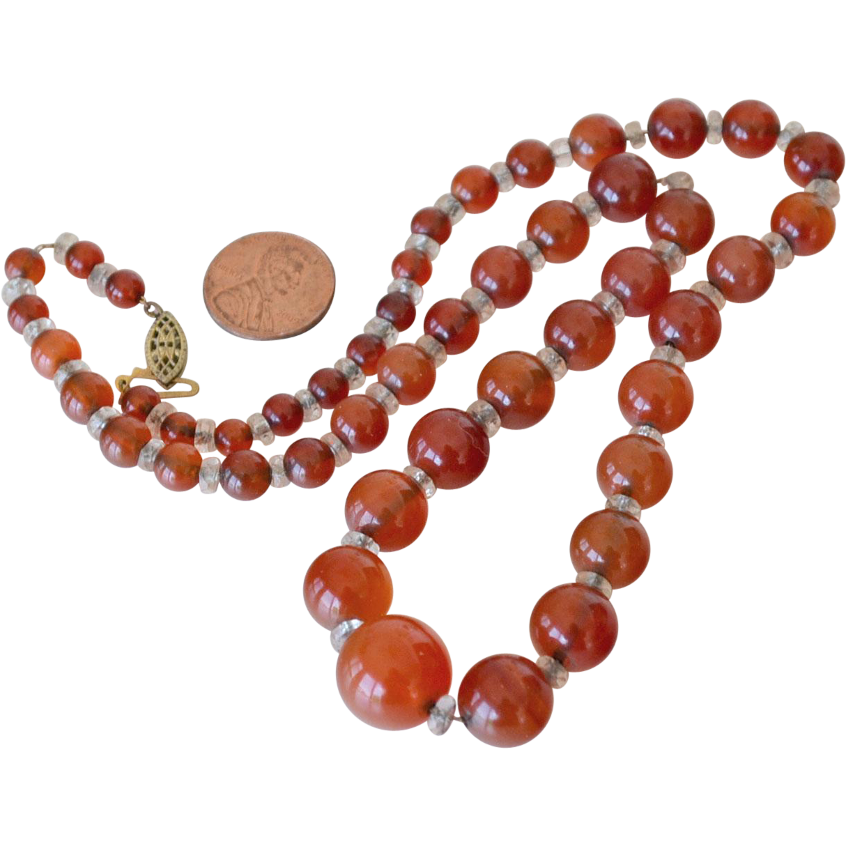 Carnelian Necklace on Chain Vintage Beads