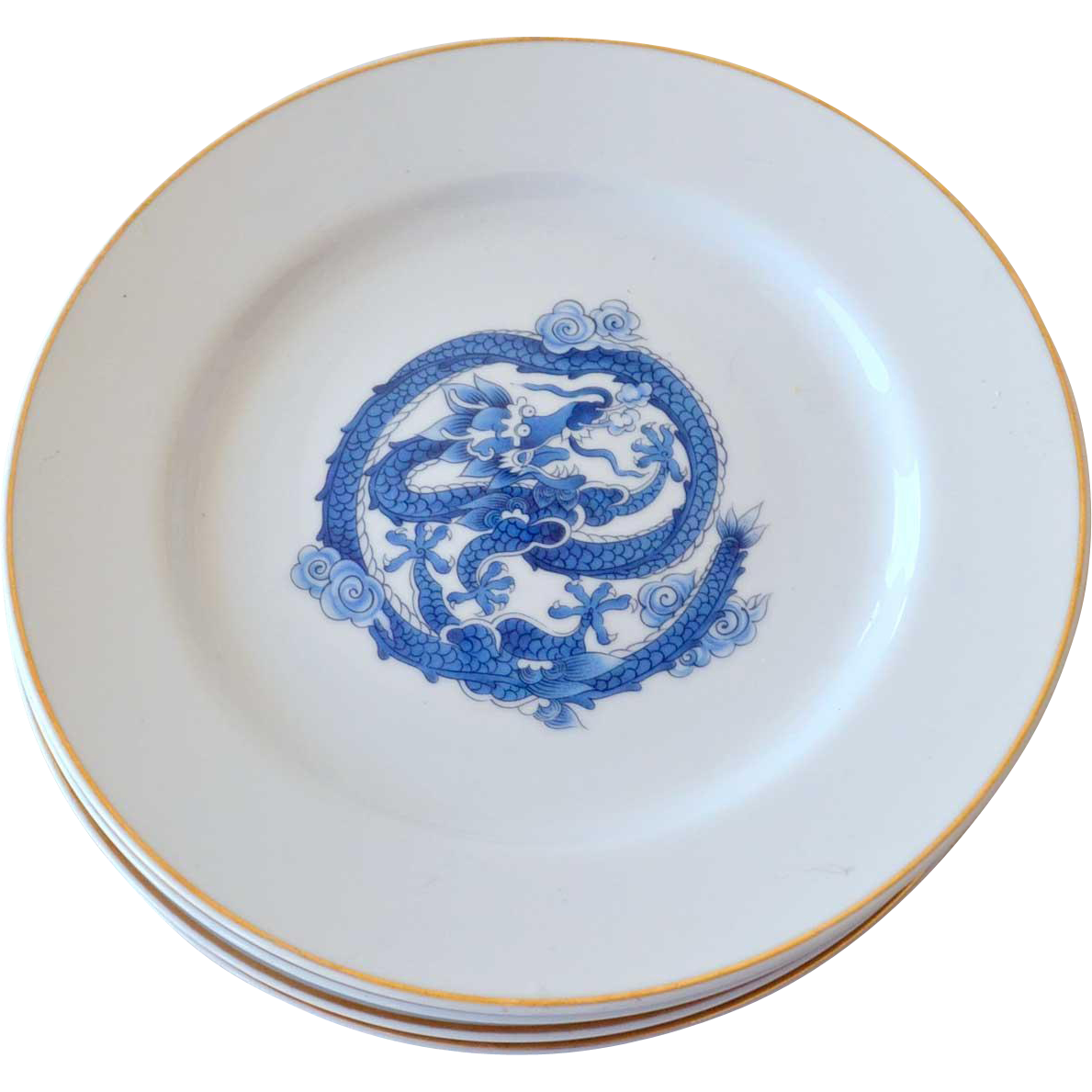 Four Blue White Dragon Porcelain Plates