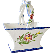 Basket Hand Painted Porcelain Portugal