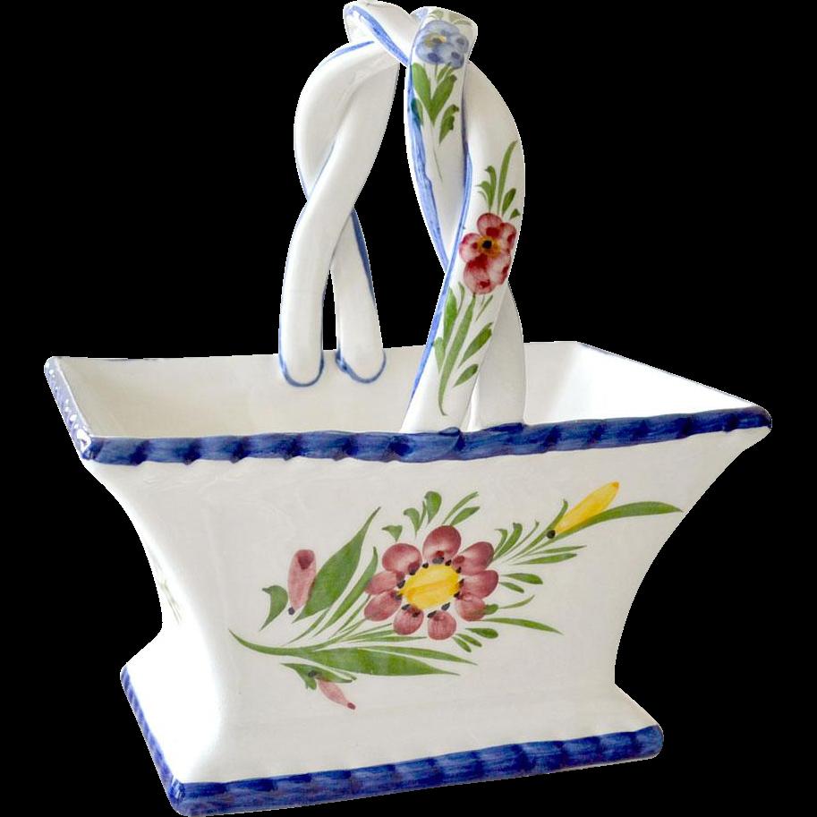 Basket Hand Painted Porcelain Portugal