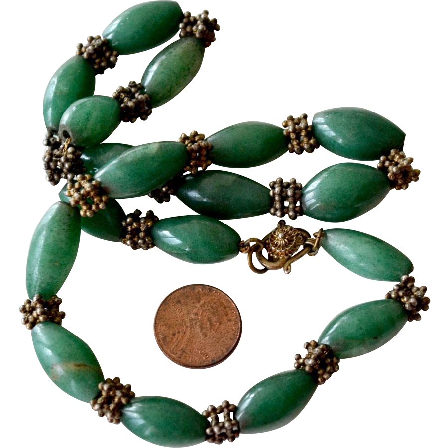 Jade Necklace Large Egg Shaped Beads on Chain