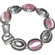 Pink Cats Eye Glass Cabochon Bracelet