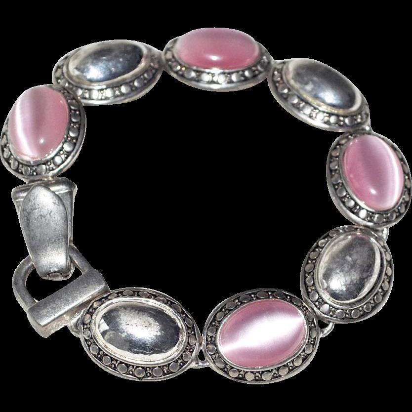 Pink Cats Eye Glass Cabochon Bracelet