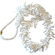 Necklace Large Spiky White Shell Slices