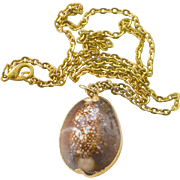 Necklace Cowrie Shell Pendant Gilt Trim