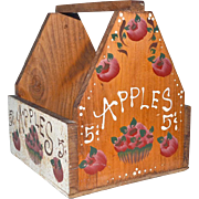 Folk Art Painted Tote or Tool Box Apples