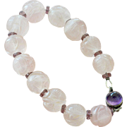 Icy Pink Jade Bracelet Carved Shou Beads