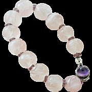 Icy Pink Jade Bracelet Carved Shou Beads
