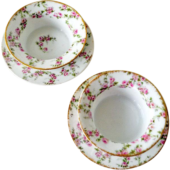 Two Limoges GDA Ramekins and Under Plates with Pink Roses