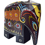 Elephant Figurine Hand Painted and Carved