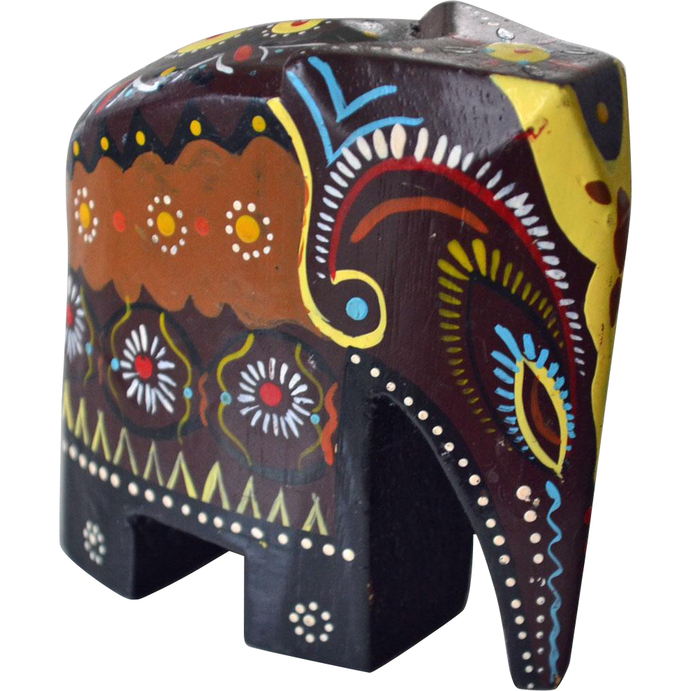 Elephant Figurine Hand Painted and Carved from artsnends ...