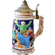 Beer Stein Unusual Handle Eagle Face
