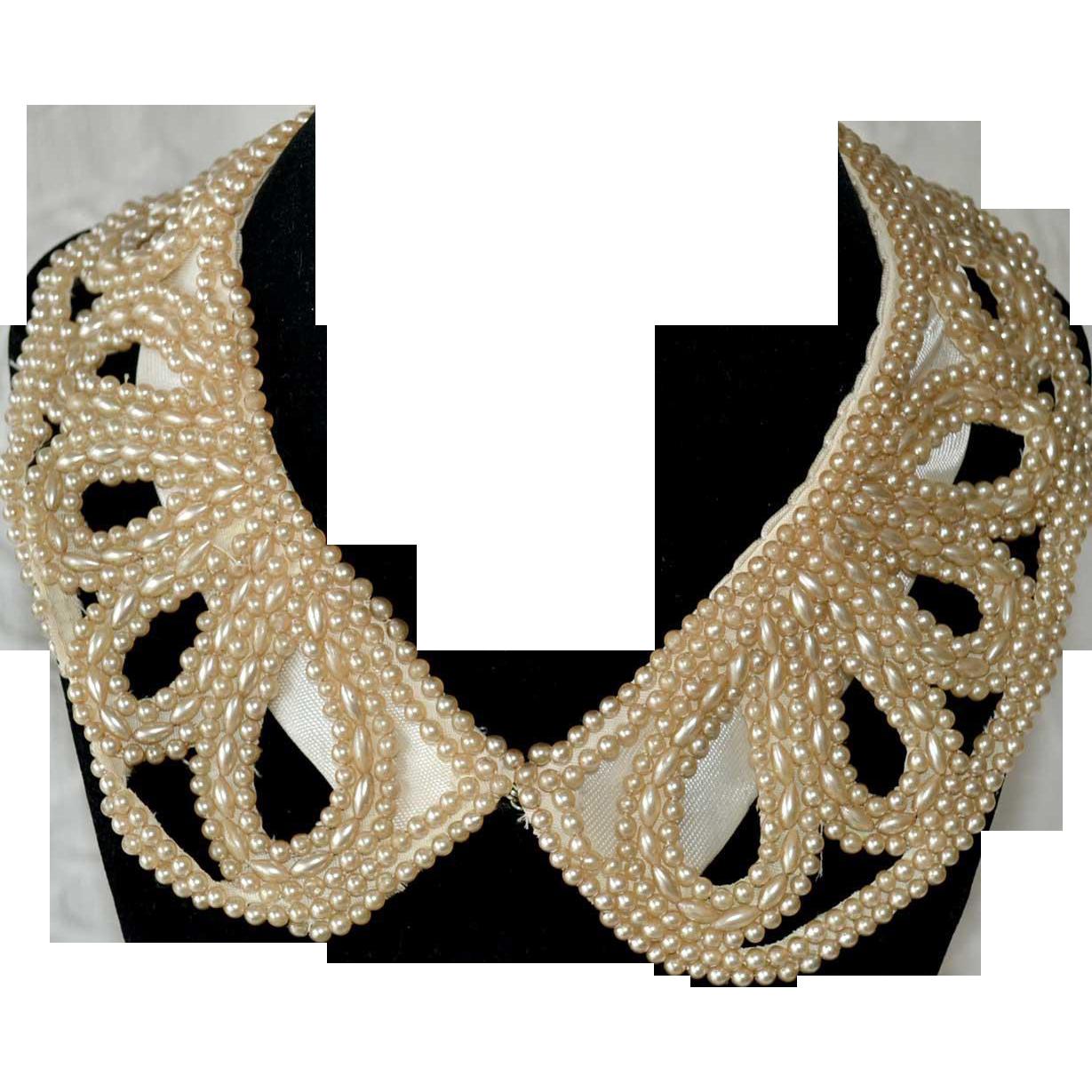 Collar Faux Pearl Hand Sewn