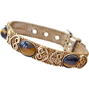 Buckle Mesh Bracelet with Gemstone Tiger Eye