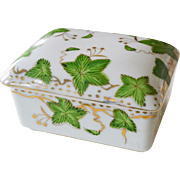 Porcelain Box Hand Painted Ivy and Gold Paulux Japan