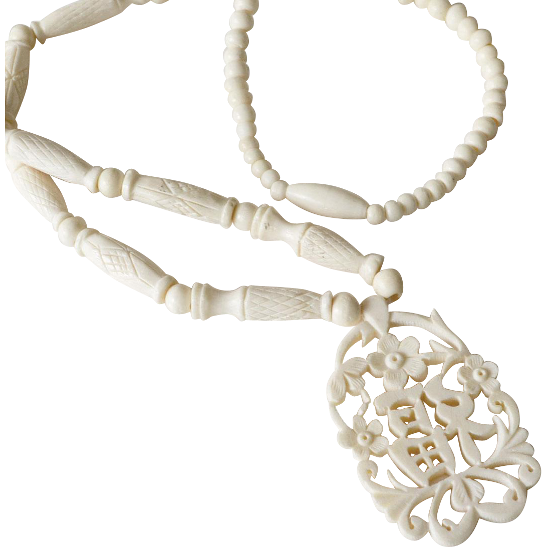 Necklace Carved Bone with Oriental Symbolic Pendant