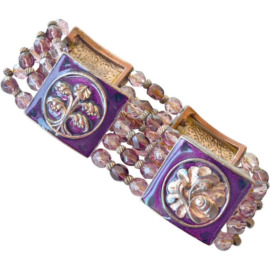 Bracelet Burgundy Mauve Pink on Copper tone