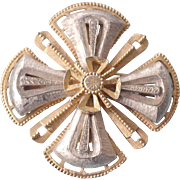Pin Brooch White and Gold Tone Old