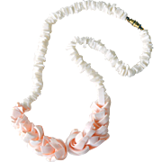 Vintage Shell Necklace White and Pale Coral Pink