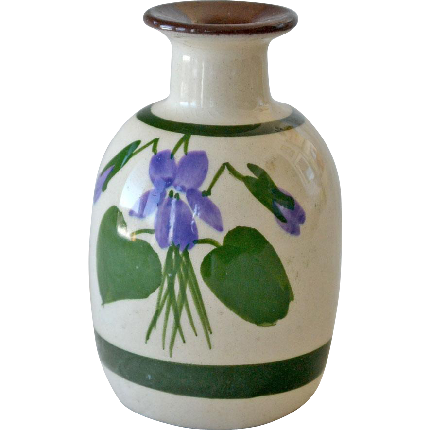 Torquay Vase or Scent Bottle Pottery Devonshire Violets