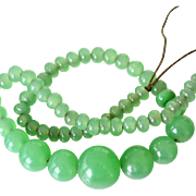 Necklace Large Aventurine Glass Beads Old