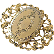 Vintage Locket Pin Brooch