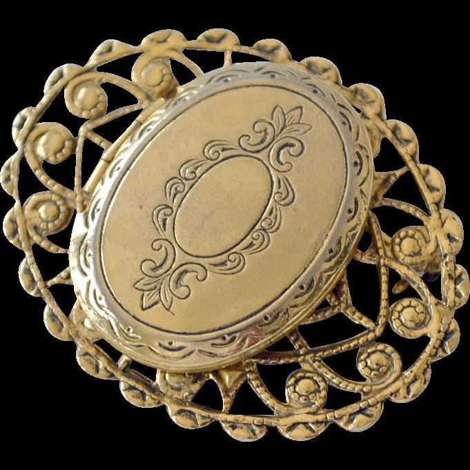Vintage Locket Pin Brooch