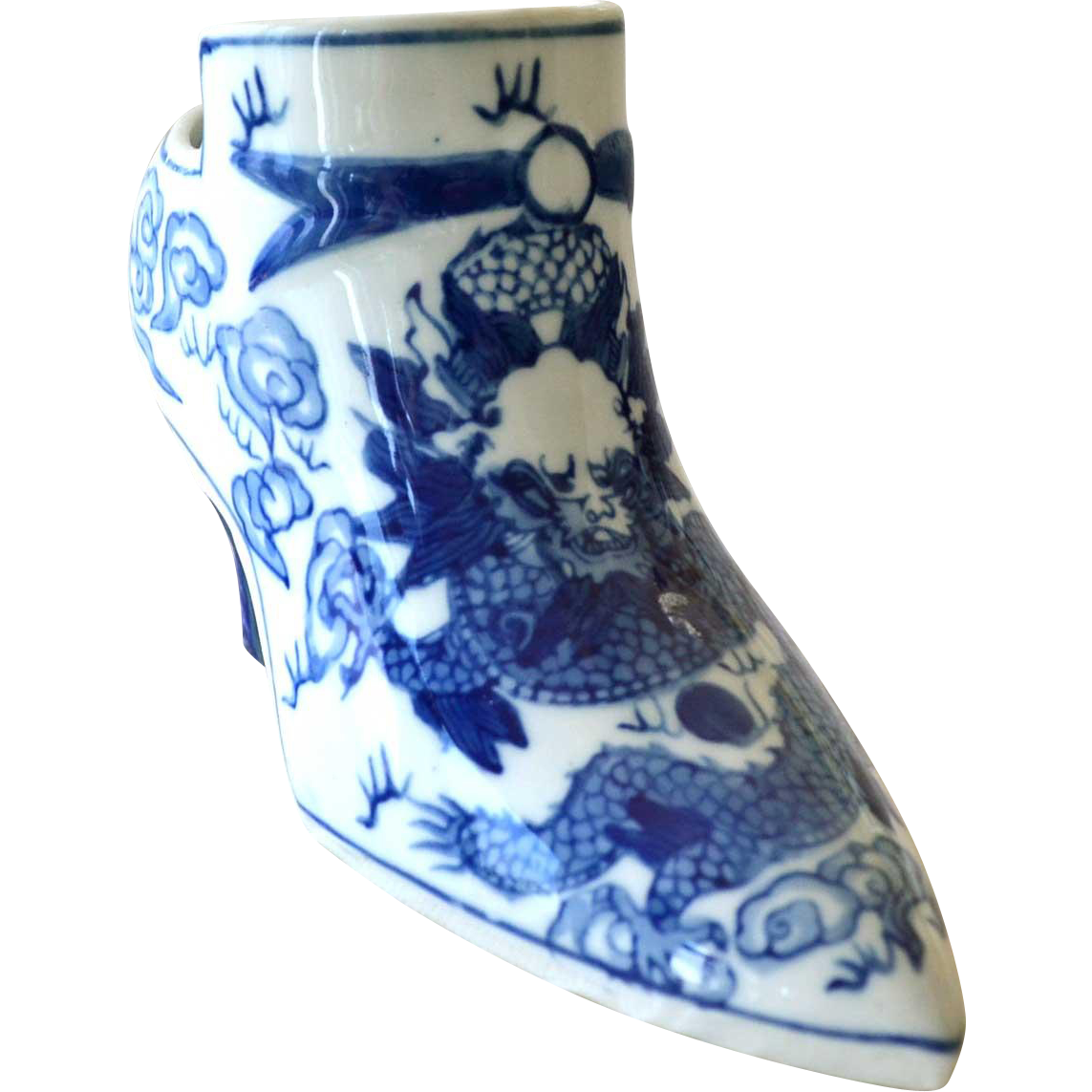 Chinese Shoe Porcelain with Dragon or Serpent vintage