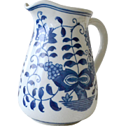 Vintage Pitcher Blue and White Hand Painted