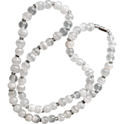 Necklace Agate White and Clear Banded