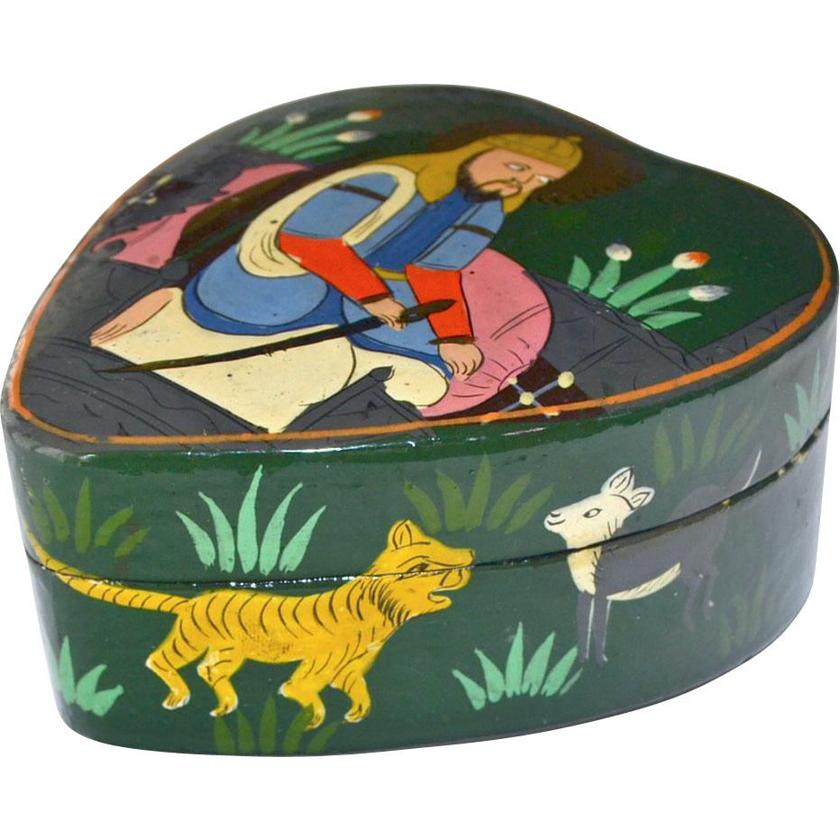 Dresser or Trinket Box Paper Mache Heart