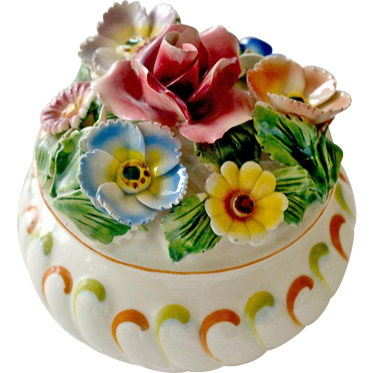Powder Dresser Box Applied Sculpted Flowers Italy