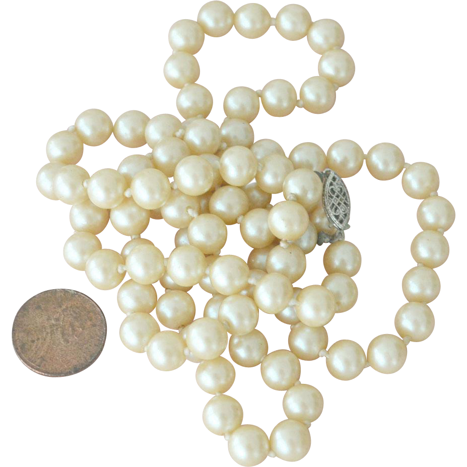 Vintage Glass Pearl Knotted Necklace 32 Inches