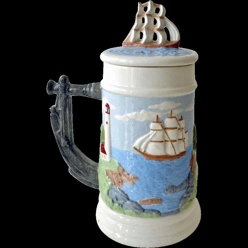 Stein Harbor Seascape Lighthouse and Schooner