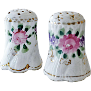 Vintage Salt Pepper Shakers Roses Violets