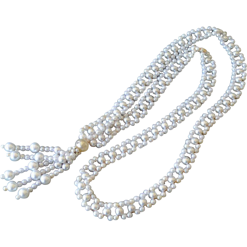 Necklace Woven Faux Pearls with Tassel