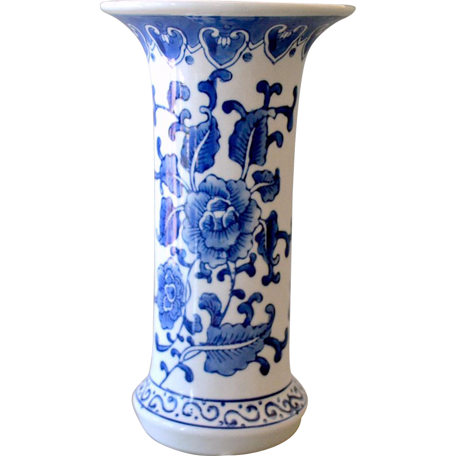 Chinese Vase Hand Painted Blue on White