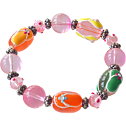 Bracelet Flip Flop Huge  Glass Beads