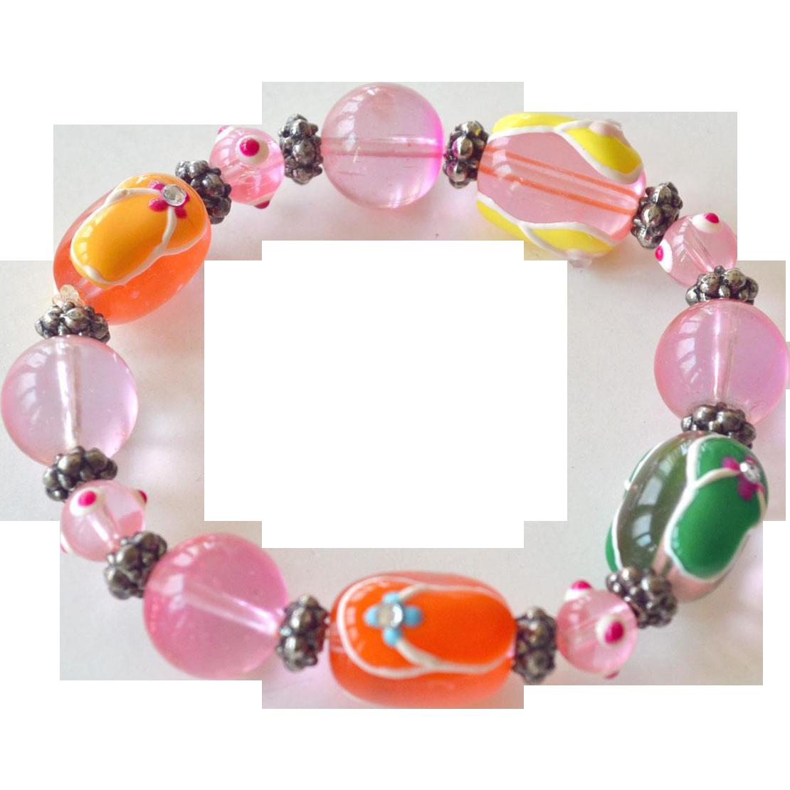 Bracelet Flip Flop Huge  Glass Beads