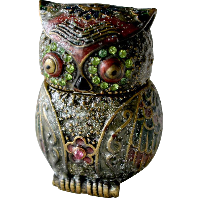 Owl Pill or Trinket Box Enamel
