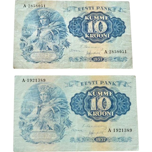 Estonia 10 Krooni 1937 currency Notes
