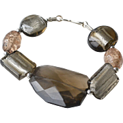 Bracelet Foil and Art Glass Sterling Silver