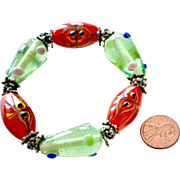 Bracelet Jumbo Art Glass Beads